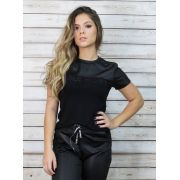Blusa recorte Leather