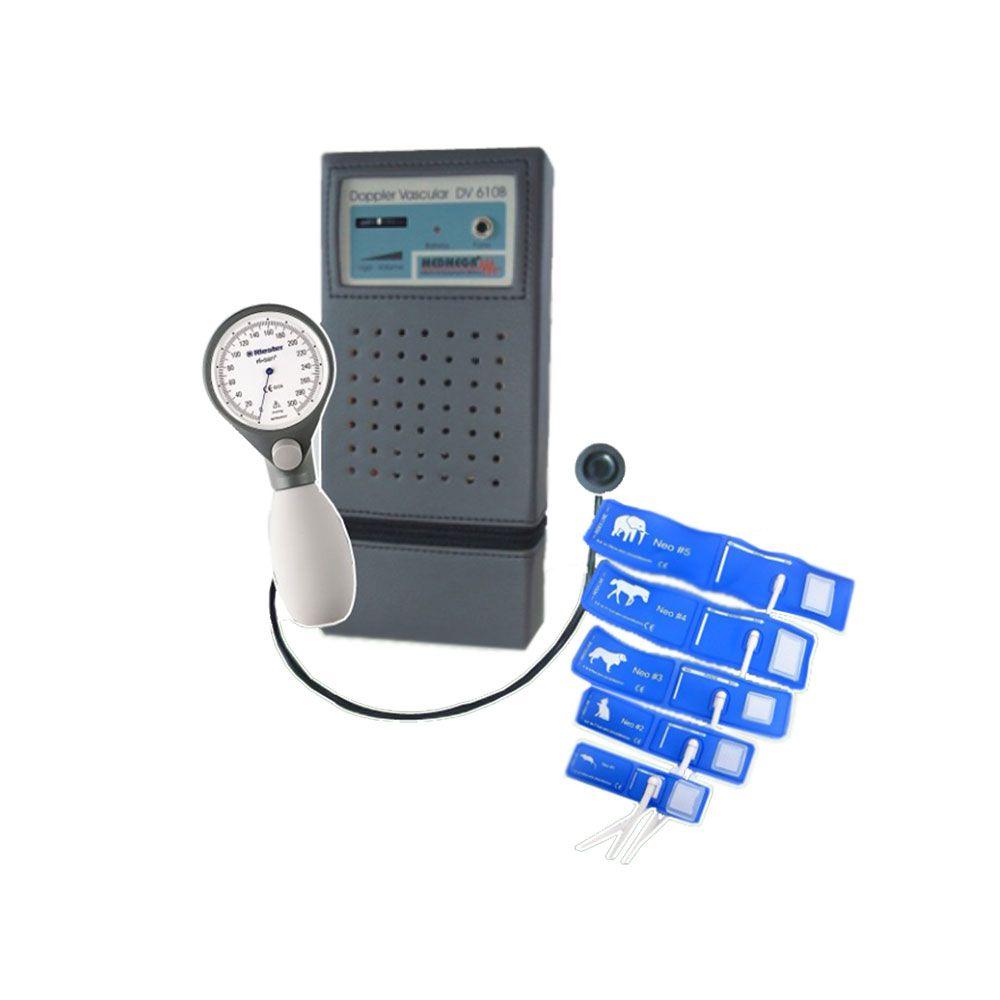 Kit doppler Medmega com esfigmomanômetro Riester Risan e manguitos