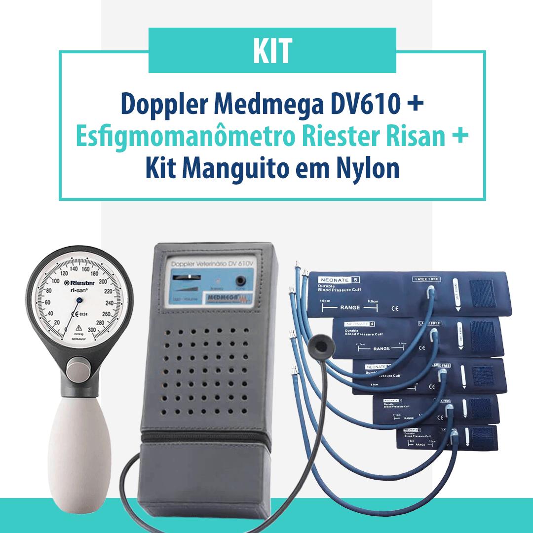 Kit doppler Medmega DV610, Esfigmomanômetro Riester Risan e Kit Manguito em Nylon