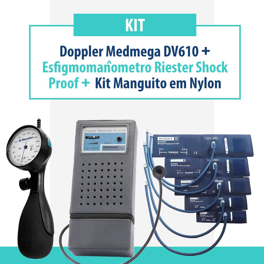 Kit Doppler Medmega DV610, Esfigmomanômetro Riester Shock Proof e Kit Manguito em Nylon