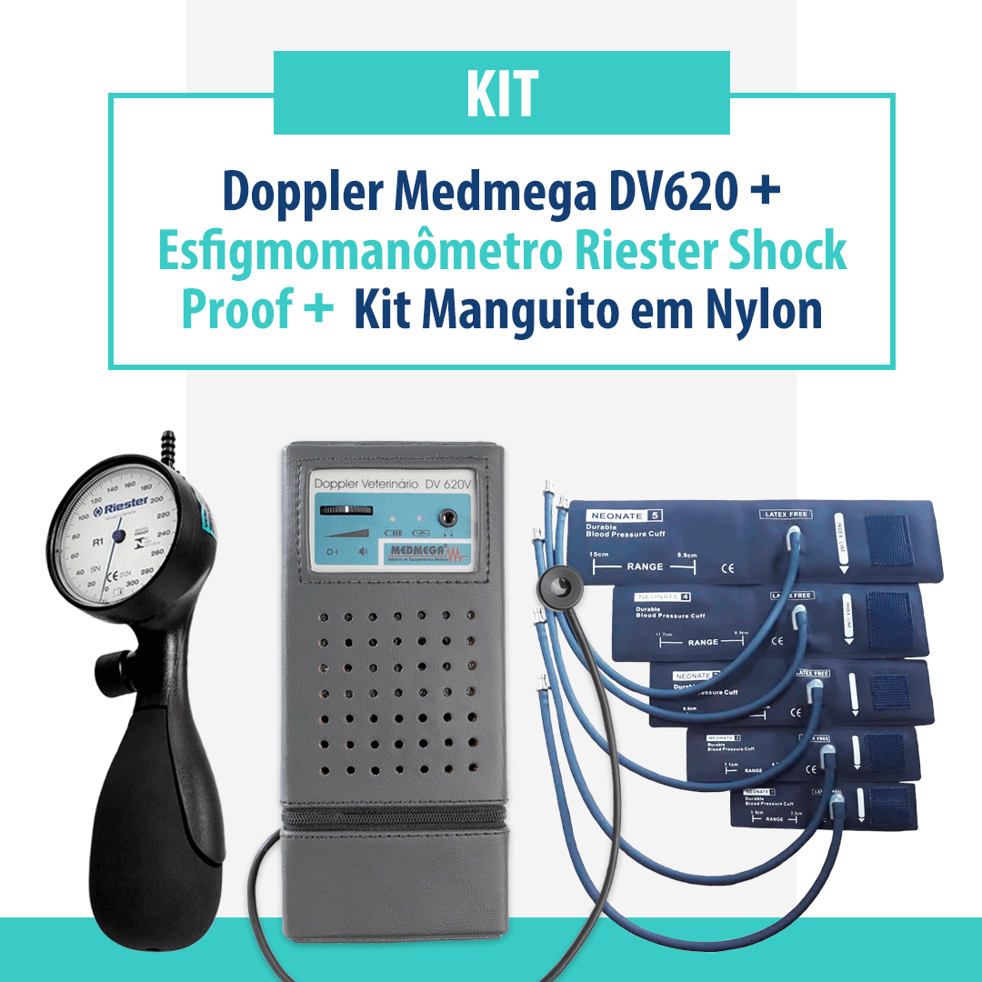Kit Doppler Medmega DV620 com bateria recarregável, Esfigmomanômetro Riester Shock Proof e Kit Manguito em Nylon