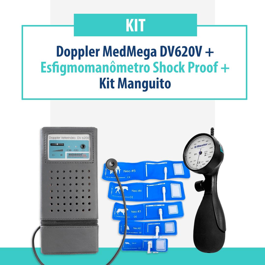 Kit Doppler Medmega DV620 com bateria recarregável, Esfigmomanômetro Riester Shock Proof e Manguitos