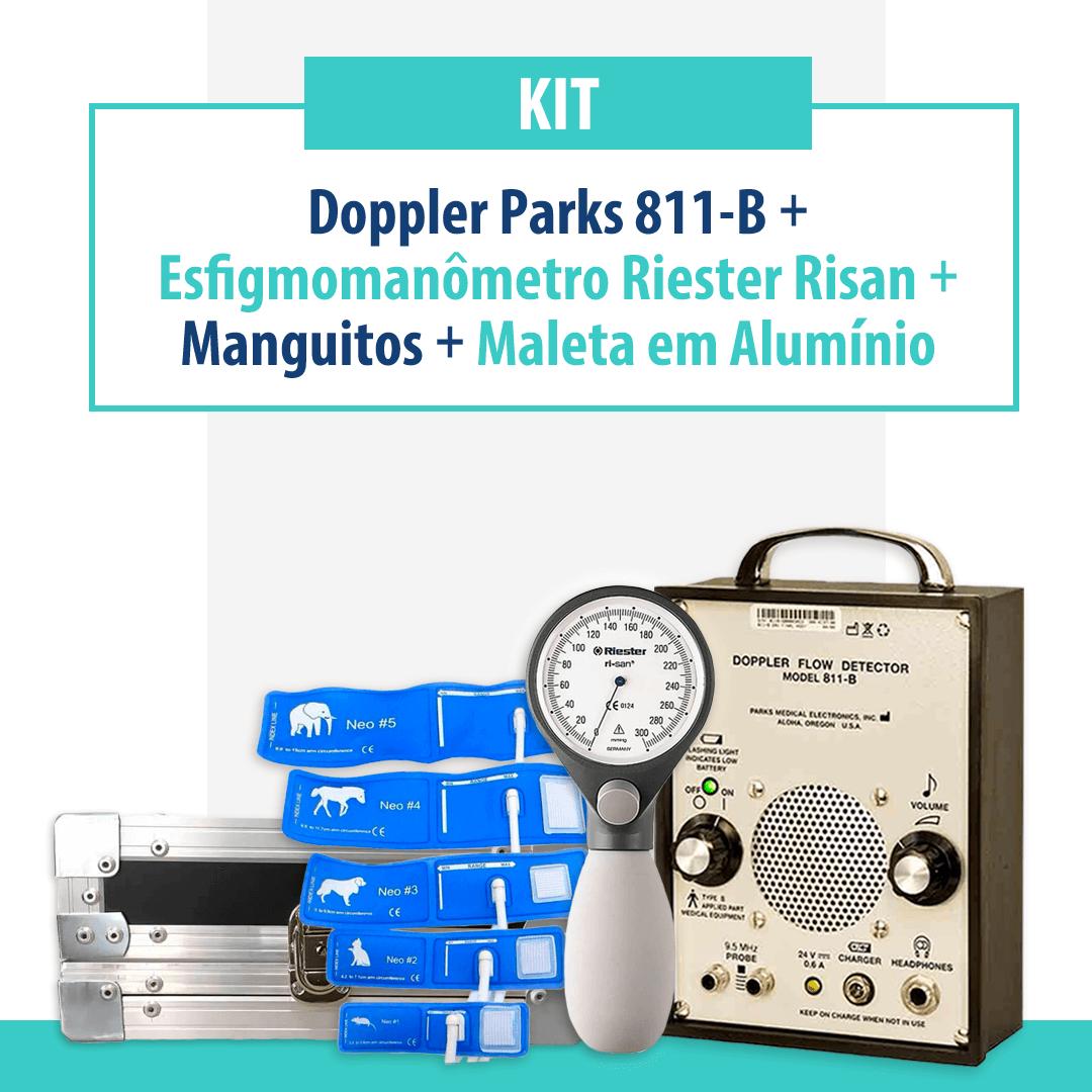 Kit Doppler Parks 811-B com Esfigmomanômetro Riester Risan, Manguitos e Maleta para Transporte