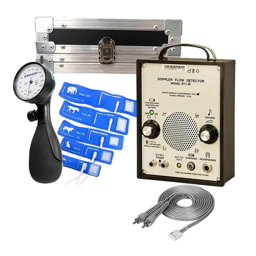 Kit doppler Parks 811-B com esfigmomanômetro Riester shockproof, manguitos e maleta para transporte