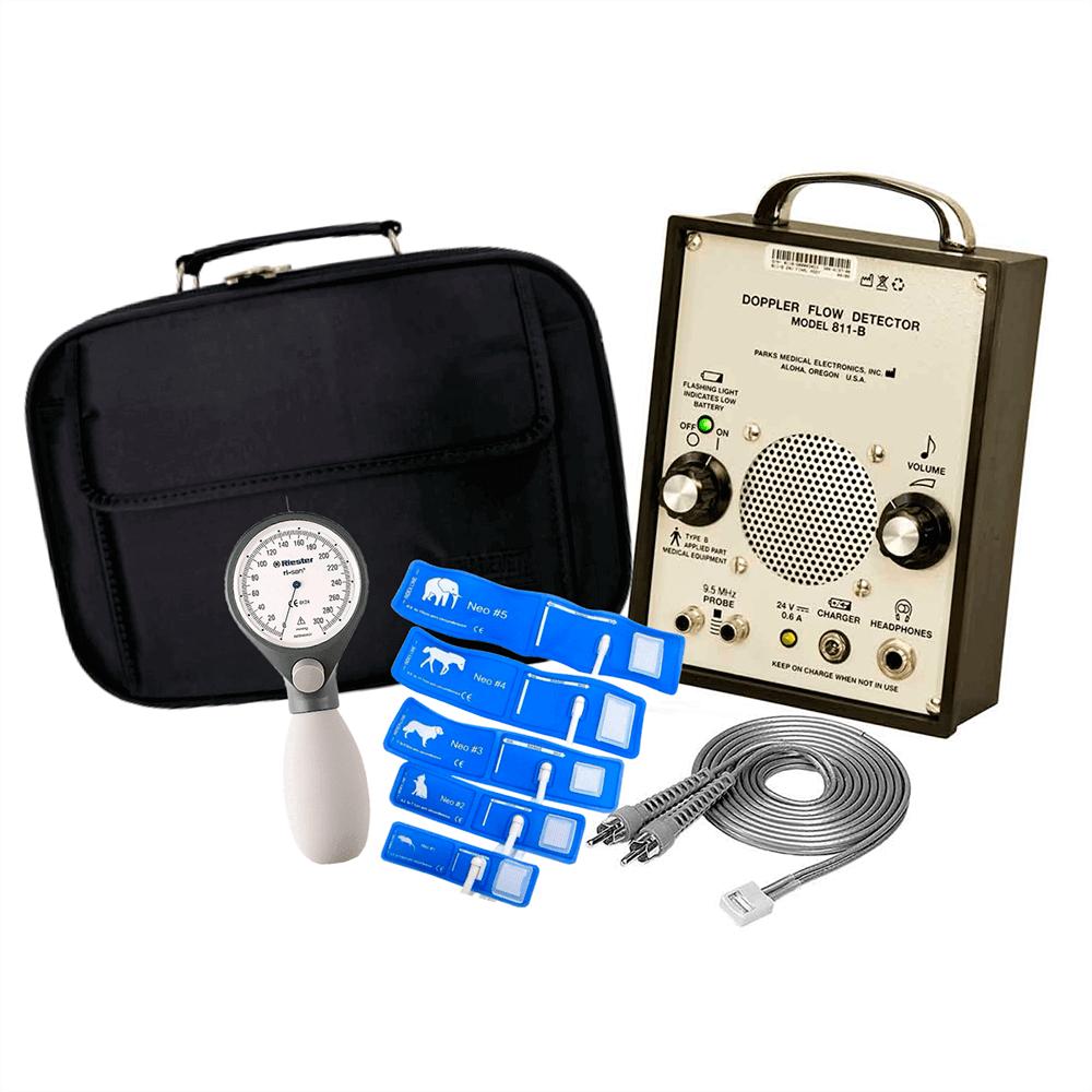 Kit doppler Parks 811 B, esfigmomanômetro Riester risan, kit manguito, e maleta para transporte