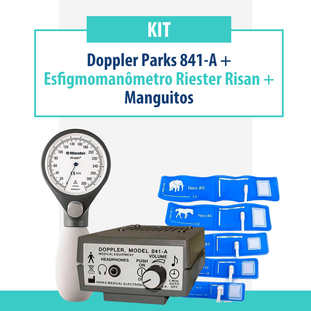 Kit Doppler Parks 841-A com Esfigmomanômetro Riester Risan e Manguitos