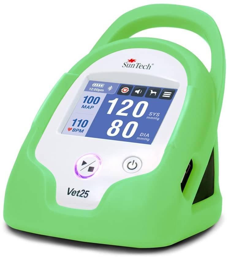 Monitor de Pressão Arterial Contínua para Animais de Estimação, marca SunTech Medical, modelo Vet25, cor verde