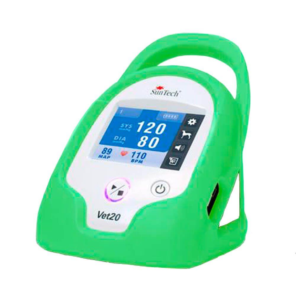 Monitor de Pressão Arterial para Animais de Estimação, marca SunTech Medical, modelo Vet20, capa proteção na cor verde