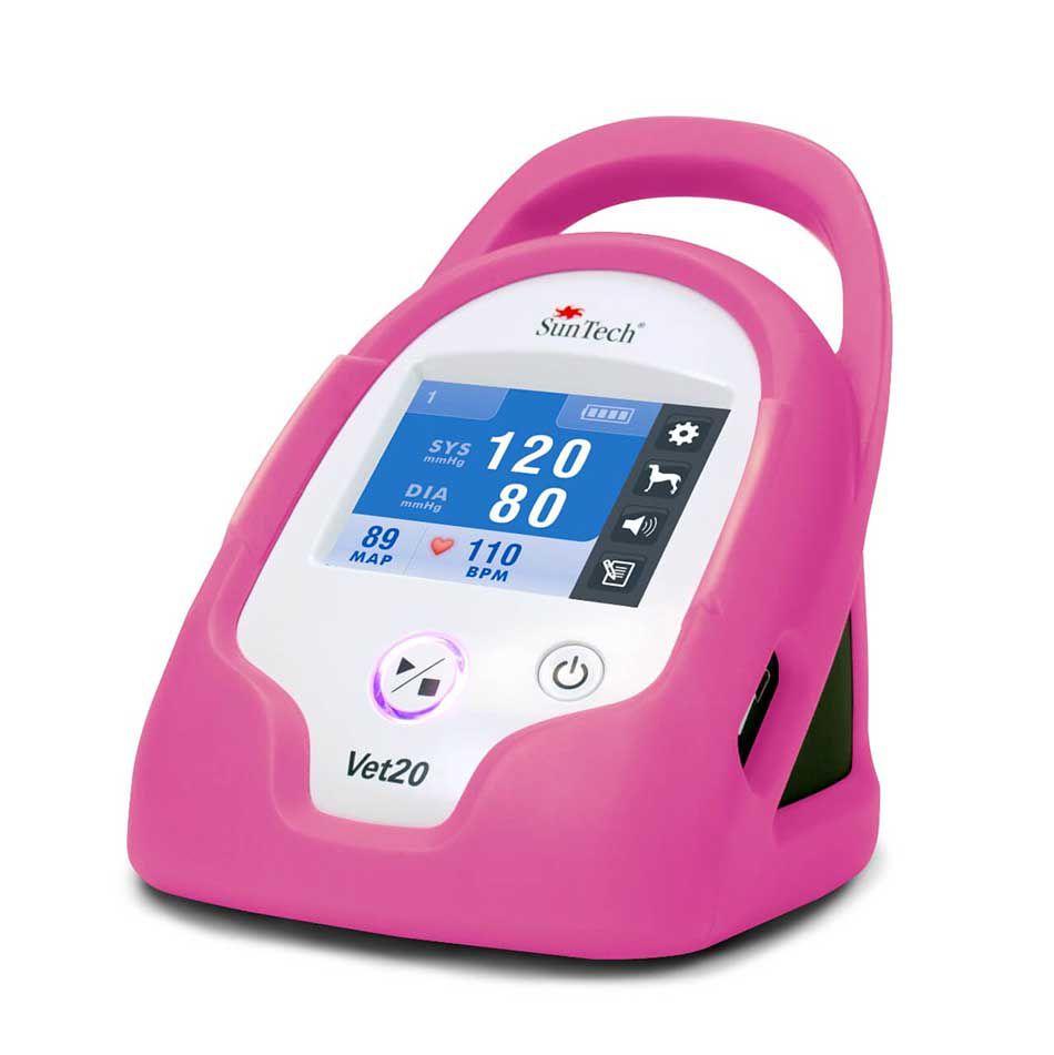 Monitor de Pressão Arterial para Animais de Estimação, marca SunTech Medical, modelo Vet20, capa proteção na cor rosa