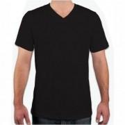 Camisa Masculina Gola V - Preto