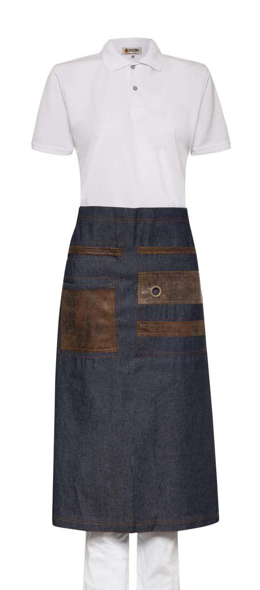 Avental Saia Jeans Unissex com detalhes em Camurça