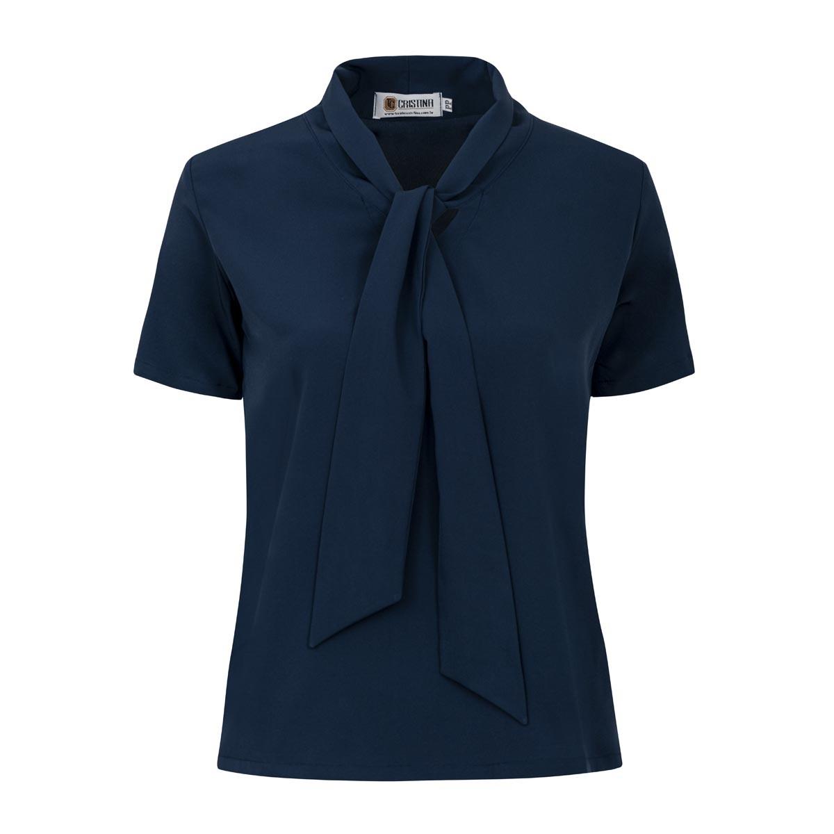 Blusa de Crepe com Laço - Azul