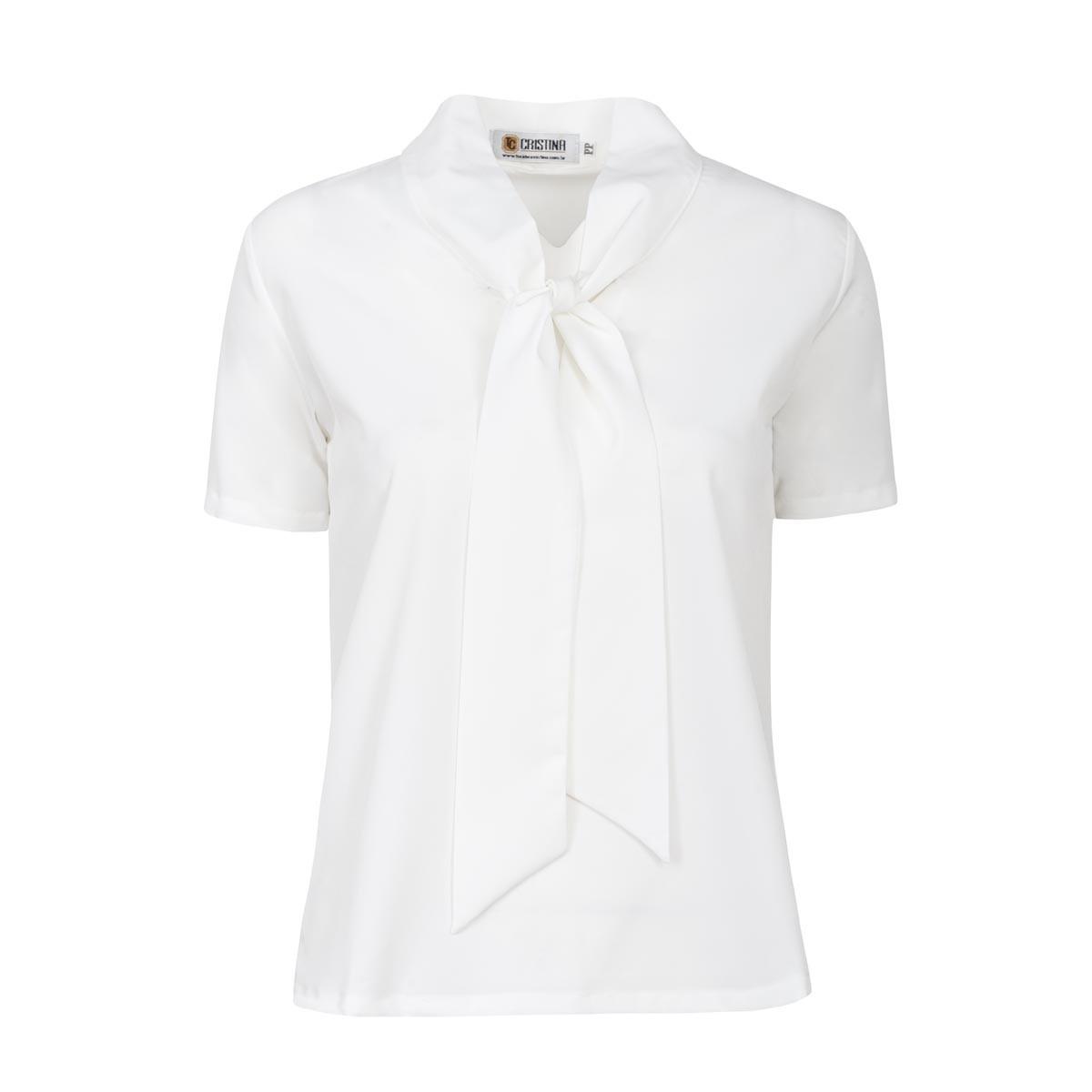Blusa de Crepe com Laço - Branco