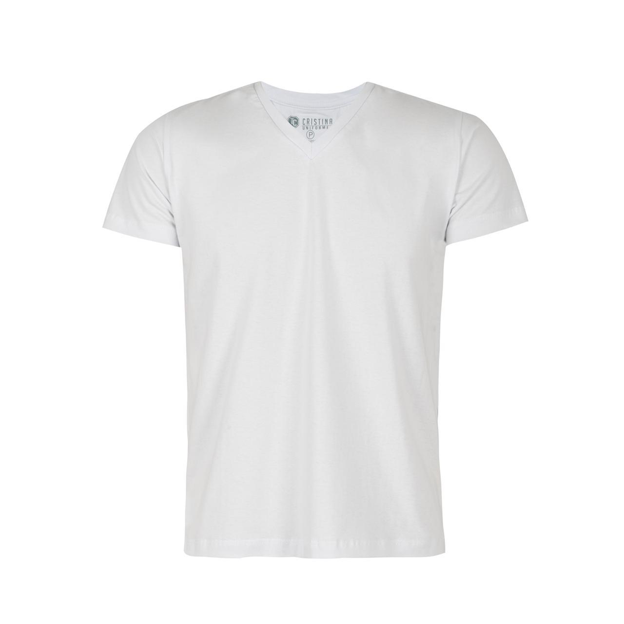 Camisa Masculina Gola V - Branco