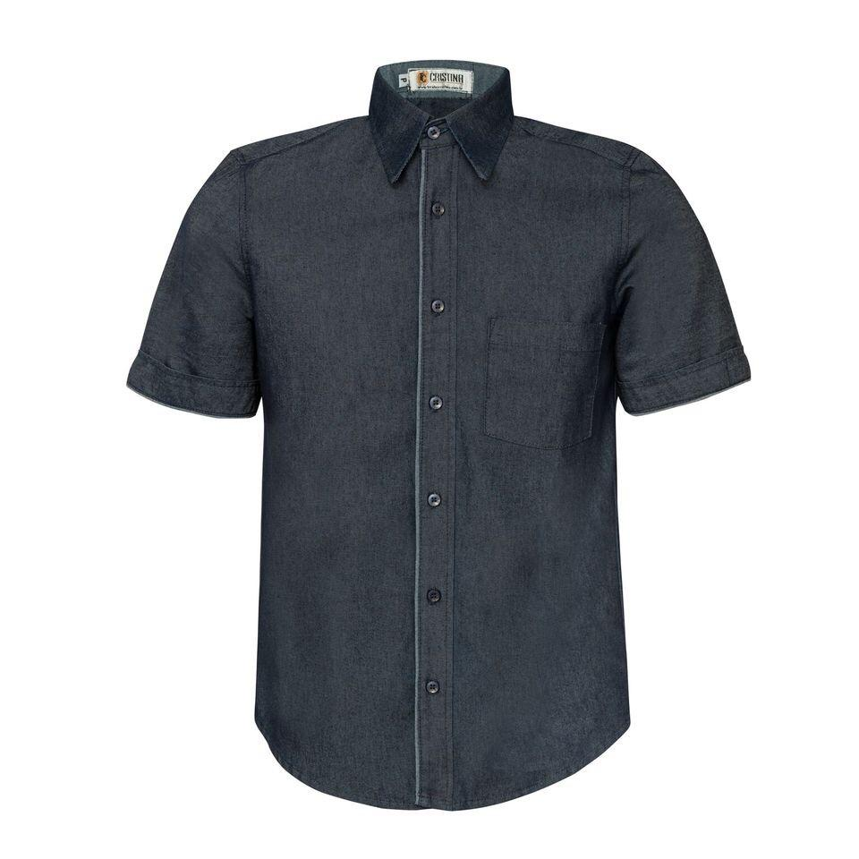 Camisa Social Masculina  Jeans Manga Curta
