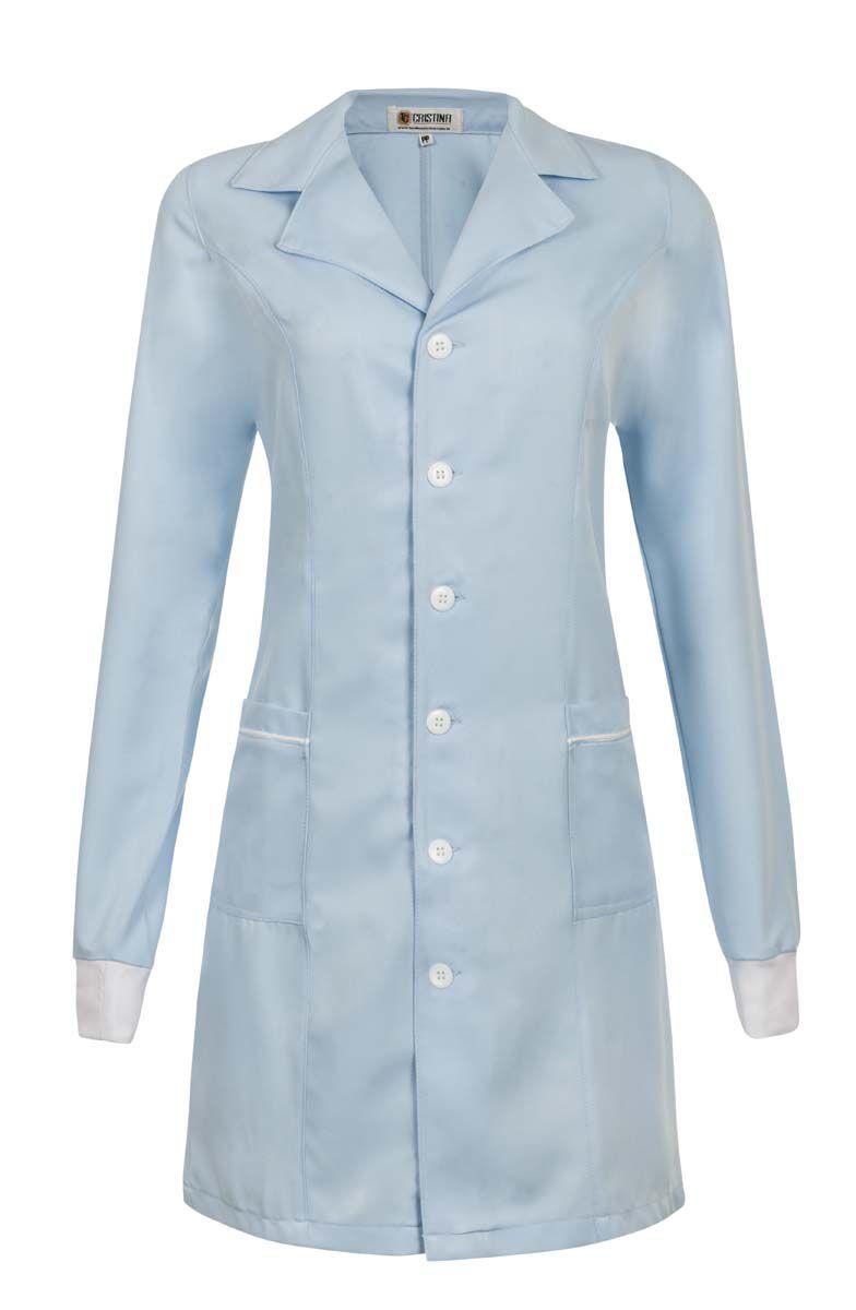 Jaleco Feminino Azul Gola Blazer com Punho