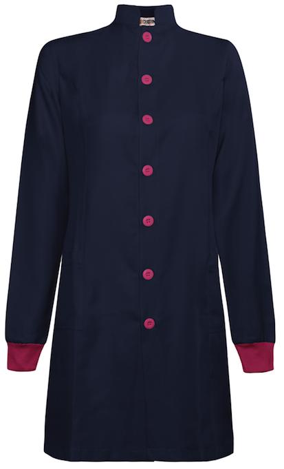 Jaleco Feminino Gola Padre Azul Marinho Manga Longa com punhos e botões rosa