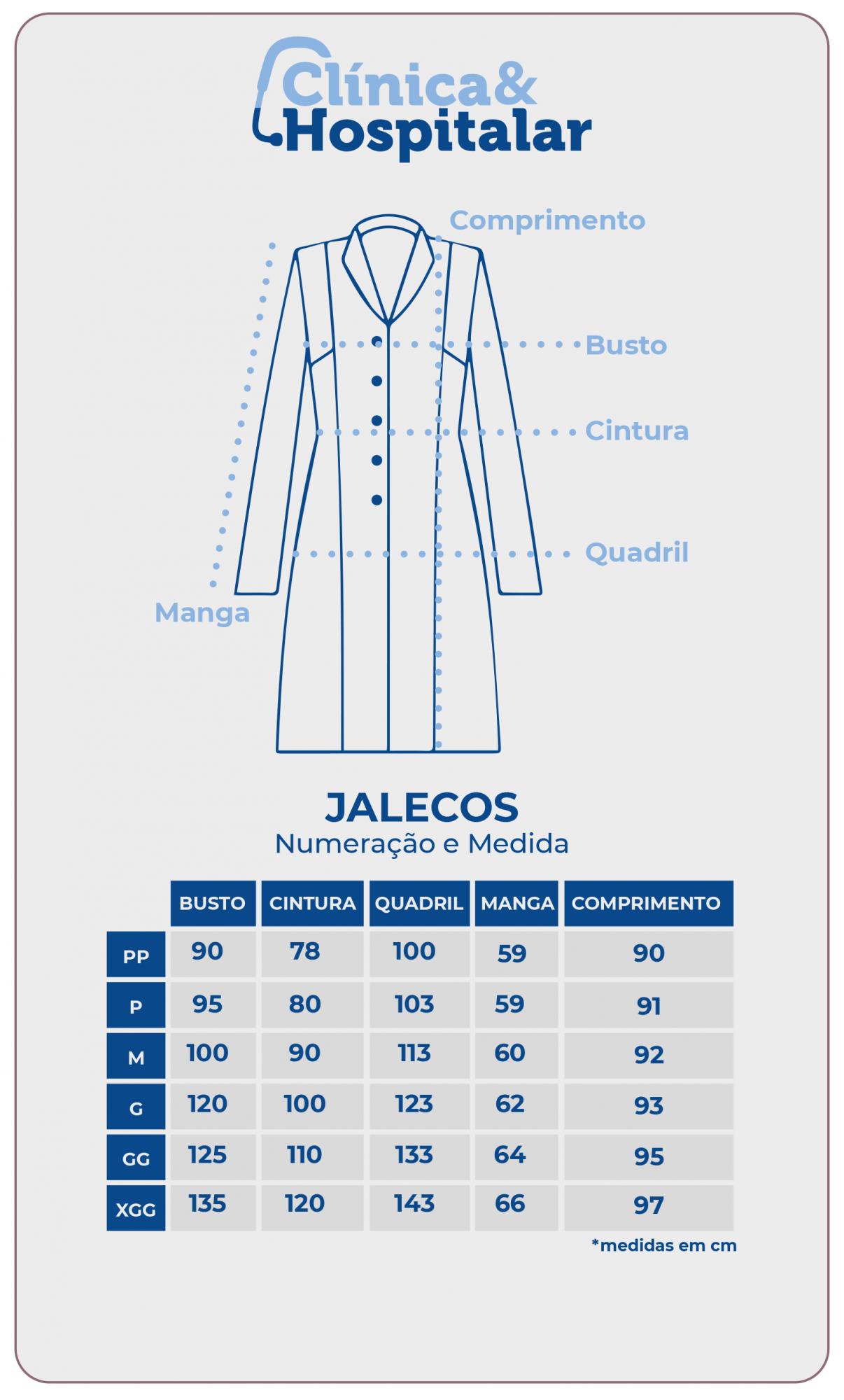 Jaleco Feminino Gola Padre Manga Longa com detalhes em azul