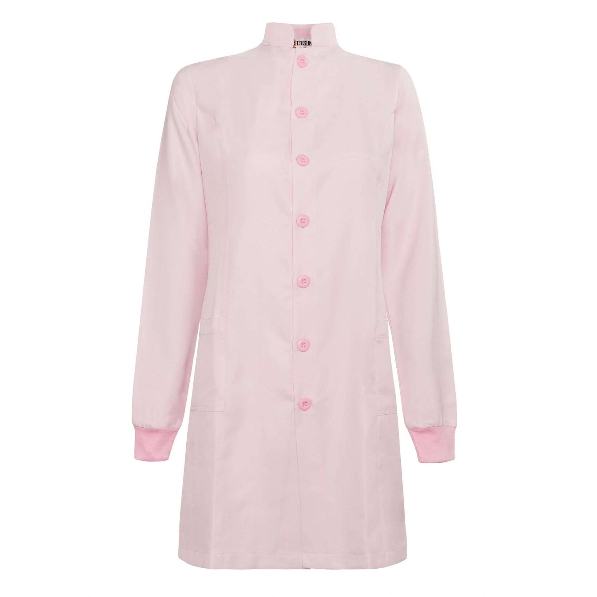 Jaleco Feminino Gola Padre Rosa Bebê Manga Longa com punhos e botões rosa