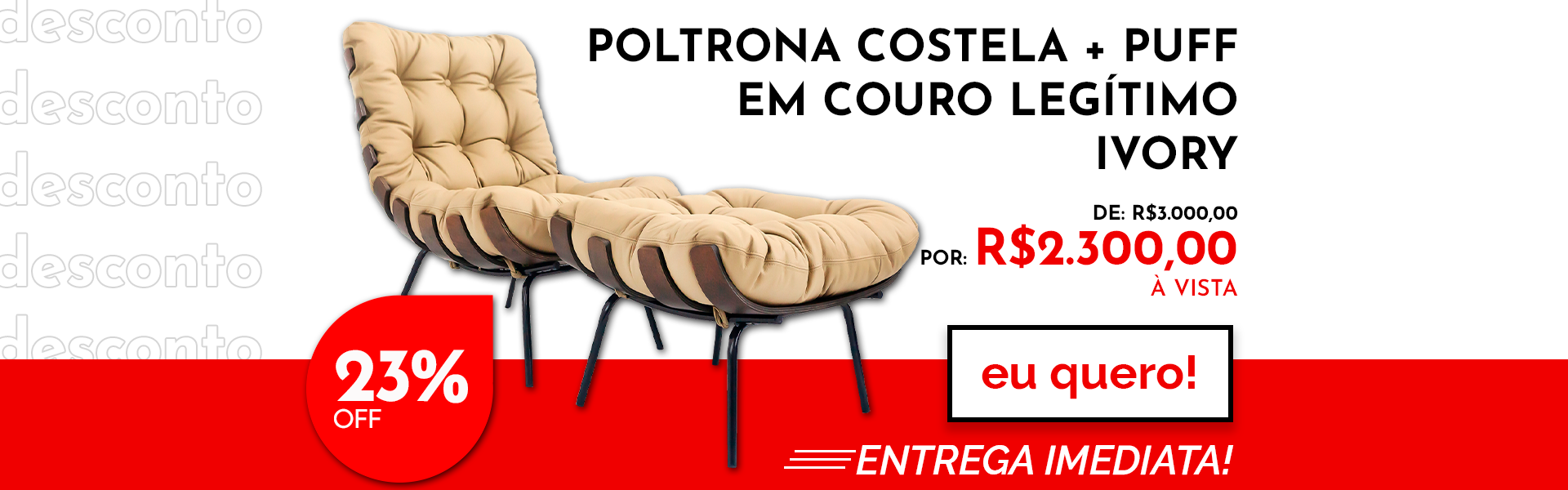 Poltrona + Puff Costela Couro Legítimo - Ivory