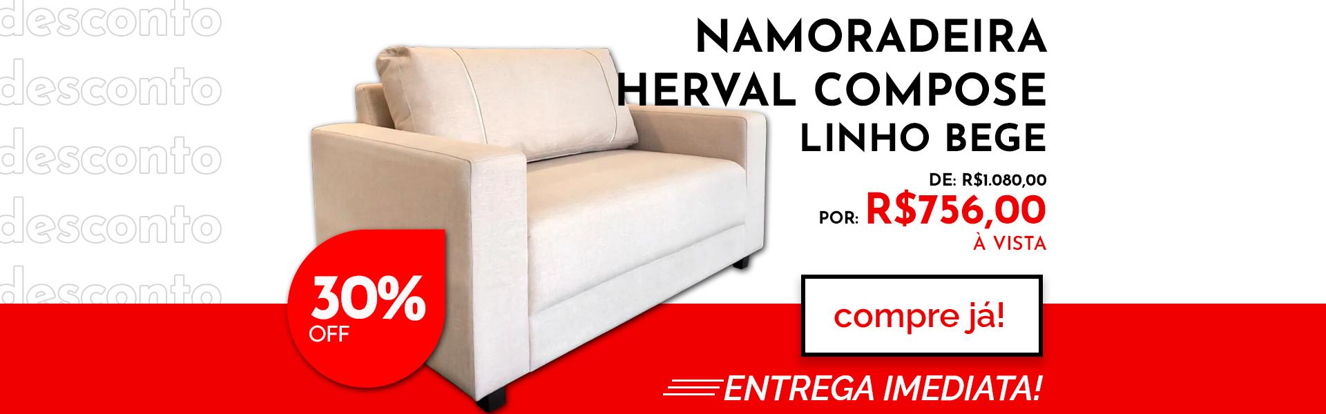 Poltrona Namoradeira Herval Compose 140 x 87 cm - Linho Bege