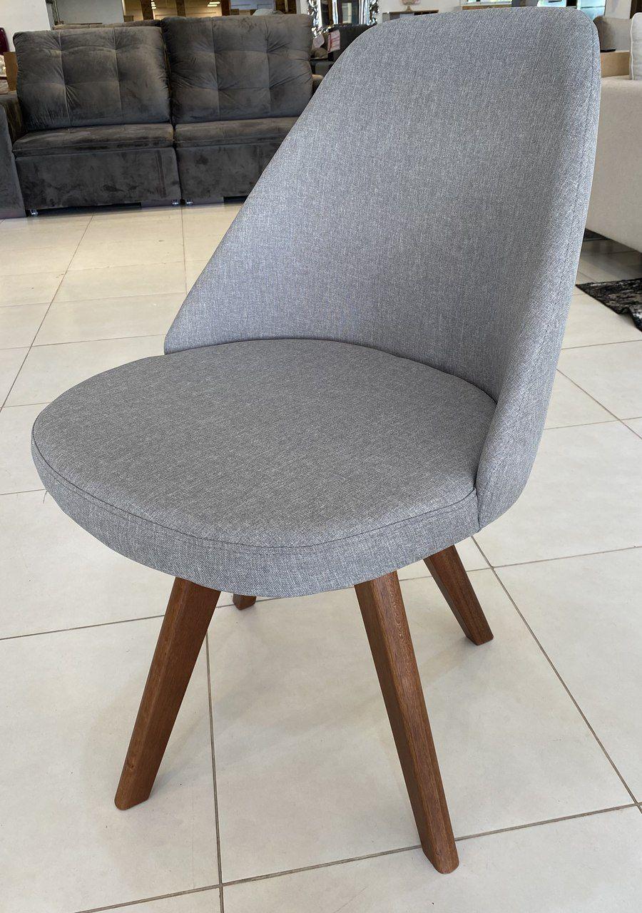 Cadeira Giratória Clara s/ Braço - Linho Cinza