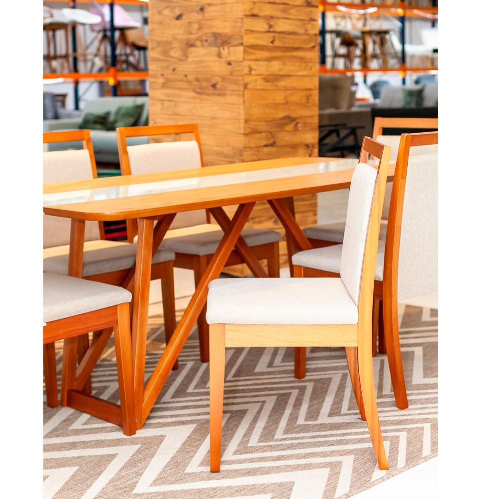 Conjunto de Mesa de Jantar Off White 180x90 com 6 Cadeiras Estofadas Herval