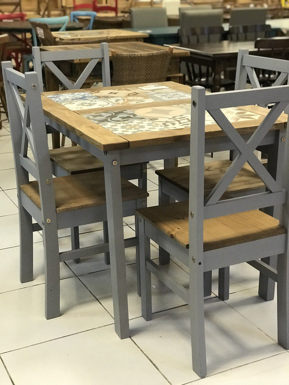 Conjunto Mesa + 4 Cadeiras Rústico com Tozeto