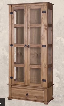 Cristaleira Rústica - 2 Portas e 1 Gaveta com Vidro Lateral