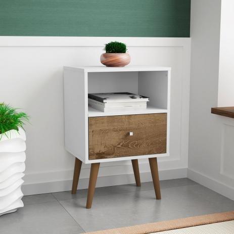 Mesa de Cabeceira Kate - Branco / Amadeirado