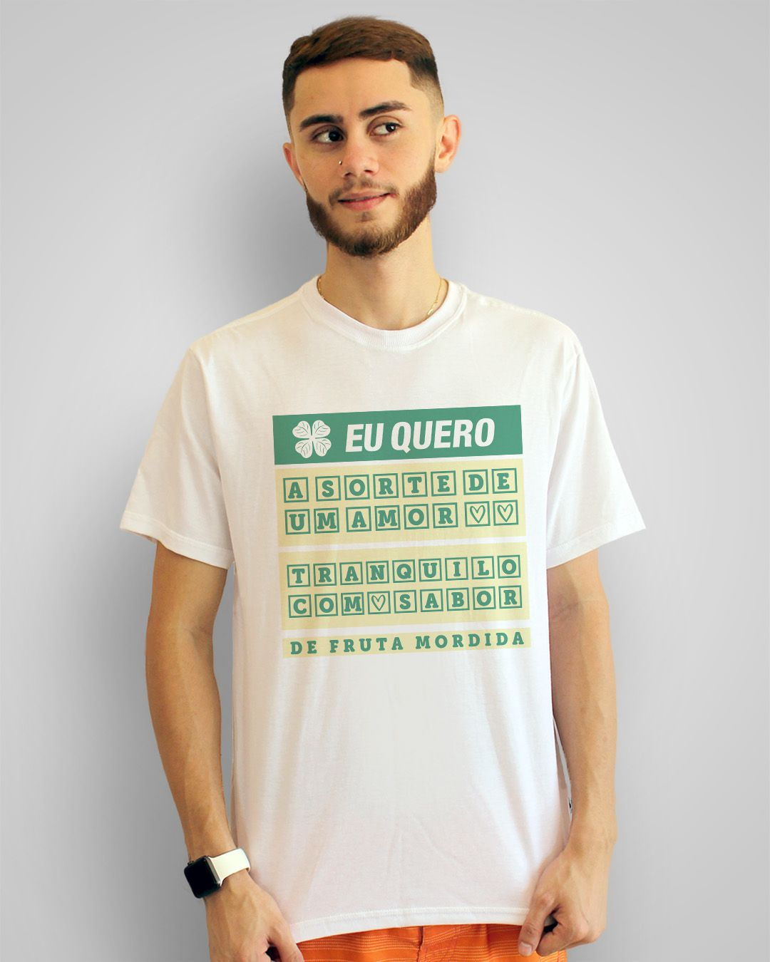 Camiseta Eu quero a sorte de um amor tranquilo, com sabor de fruta mordida - Cazuza ft. Cássia Eller