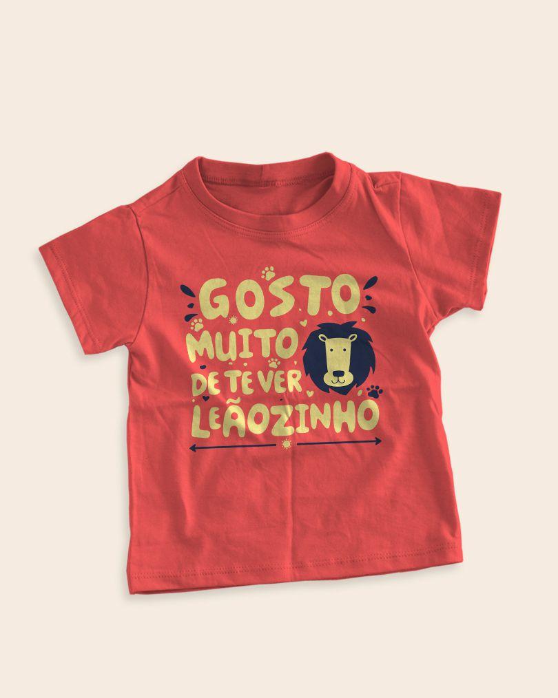 Camiseta Infantil Gosto muito de te ver, Leãozinho - Caetano Veloso