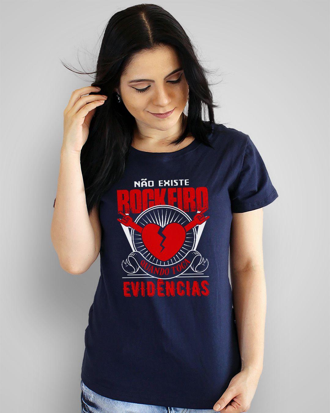 Camiseta Não existe rockeiro quando toca Evidências
