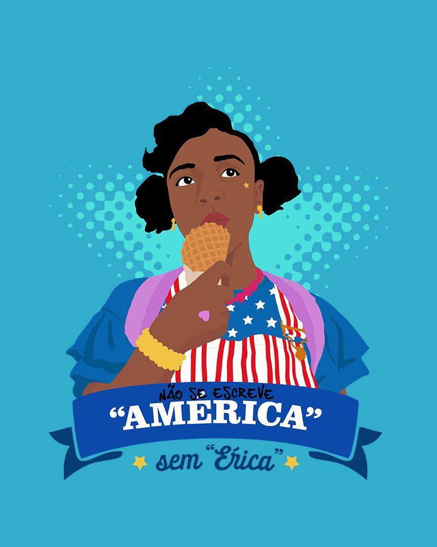"""Camiseta Não se escreve """"América"""" sem """"Érica"""" - Stranger Things"""