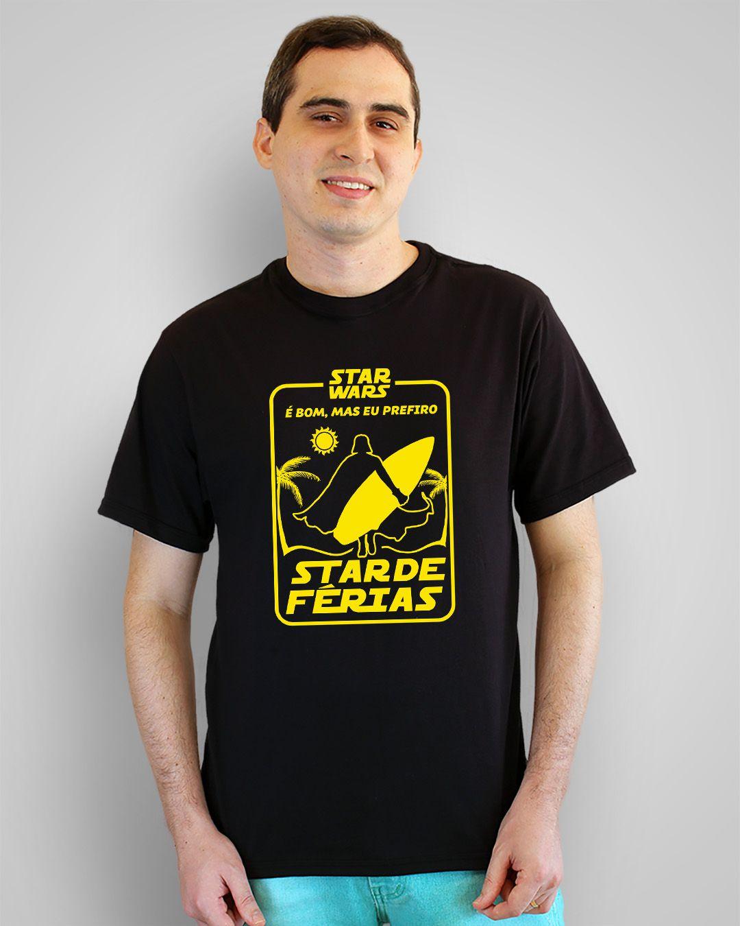 Camiseta Star Wars é bom, mas eu prefiro Star de férias