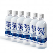 Kit - Shine Gel 70 - Álcool Gel Antiséptico - 500ml - 6 unidades