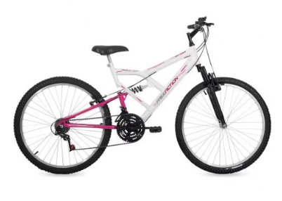 Bicicleta Aro 26 Feminina Full Branco/Rosa