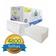 Papel Toalha Interfolhado 100% Celulose Folha Simples com 4800 folhas