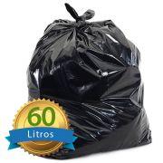 Saco De Lixo Preto Reforçado 60L com 50 Unidades 63x80cm