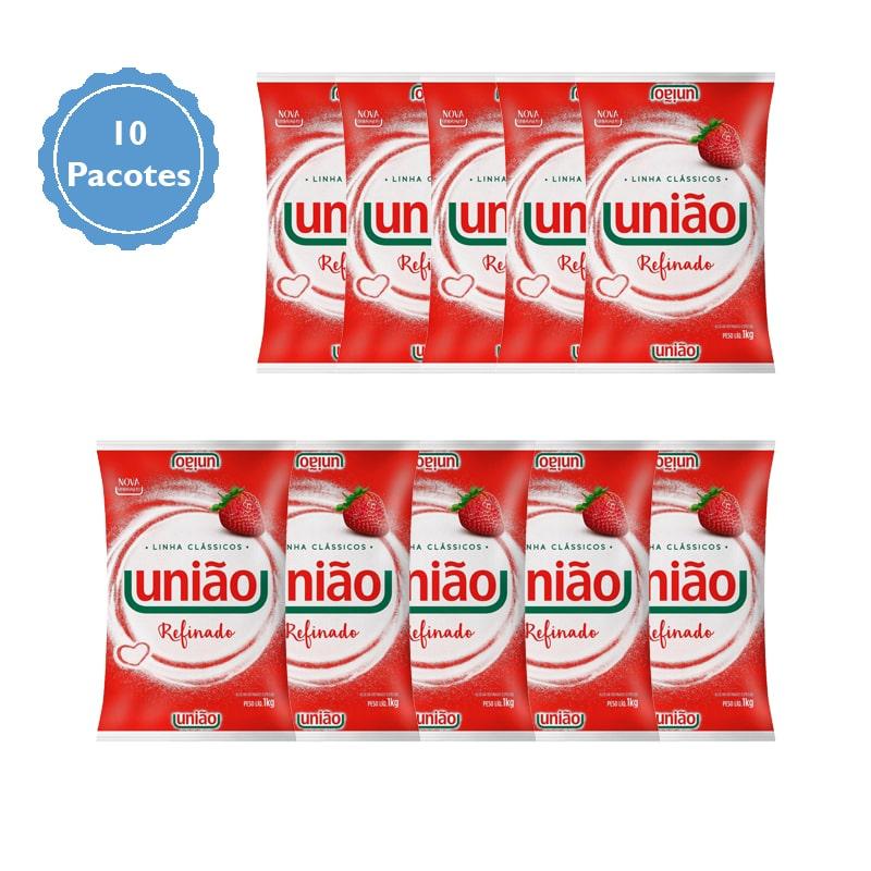 Açúcar União Fardo com 10 pacotes de 1Kg cada  - Higinet