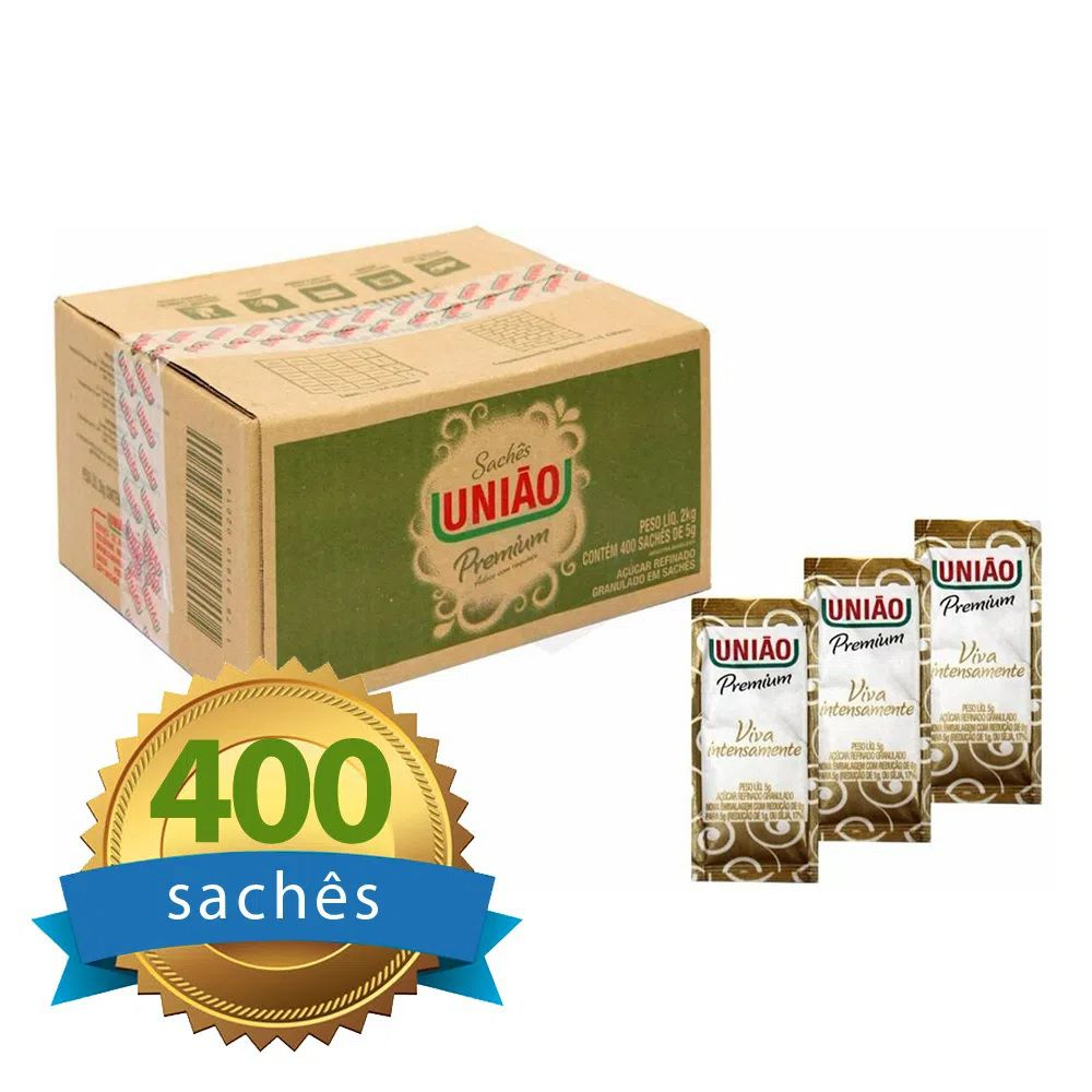 Açúcar União Sachê caixa com 400 unidades  - Higinet