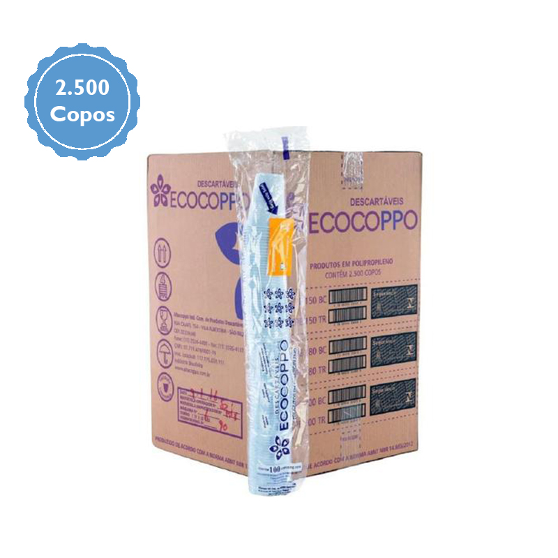 Copo Descartável Ecocoppo 180ml c/2500 unidades  - Higinet