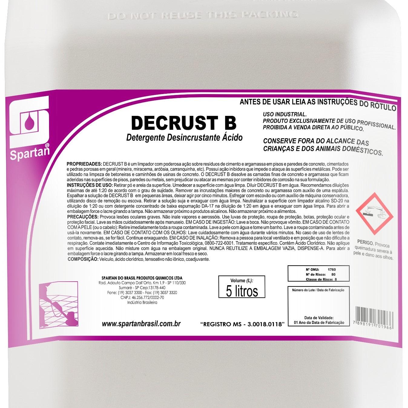 Decrust B limpador de resíduos 5 Litros Spartan  - Higinet