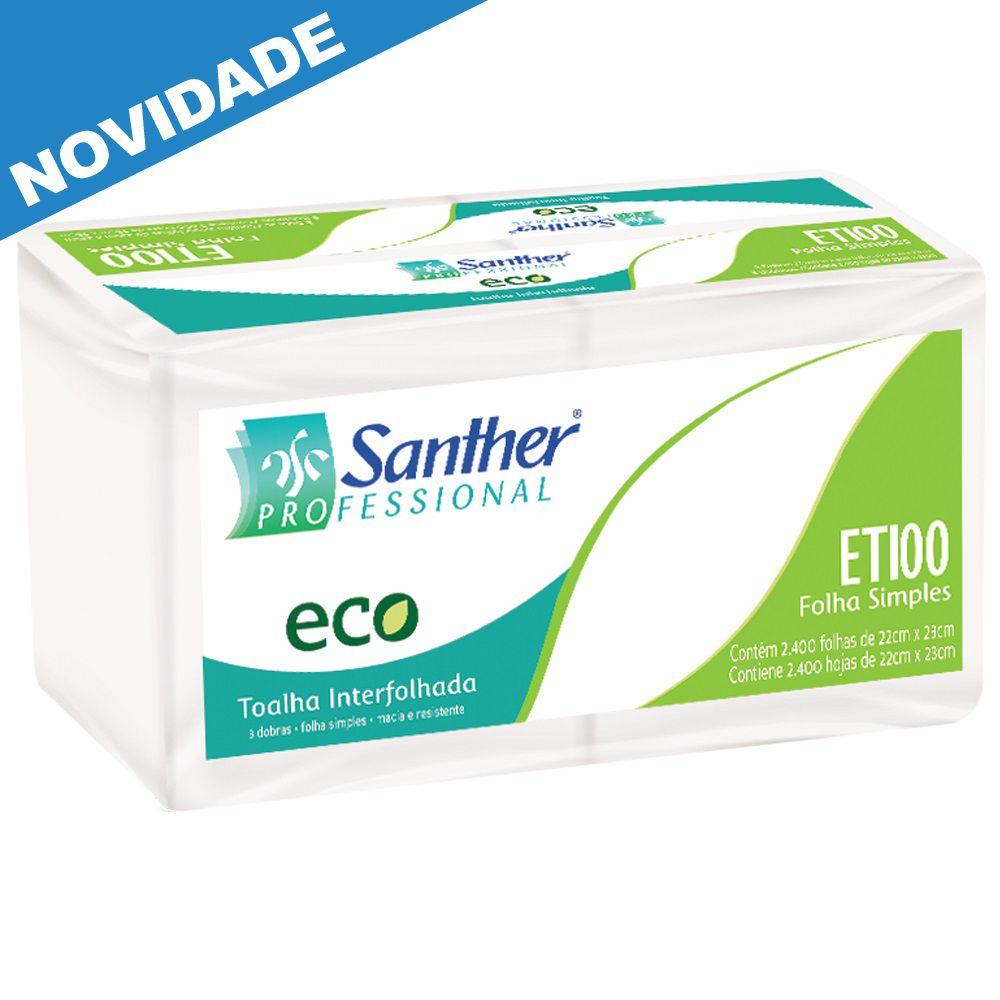 Papel Toalha Interfolha 3 Dobras c/2400 folhas Santher ETI00  - Higinet