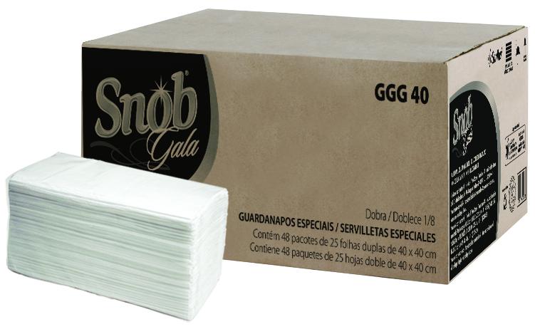 Guardanapo SNOB GALA 40cmx40cm Folha DUPLA c/1200 Folhas - Santher GGG40  - Higinet