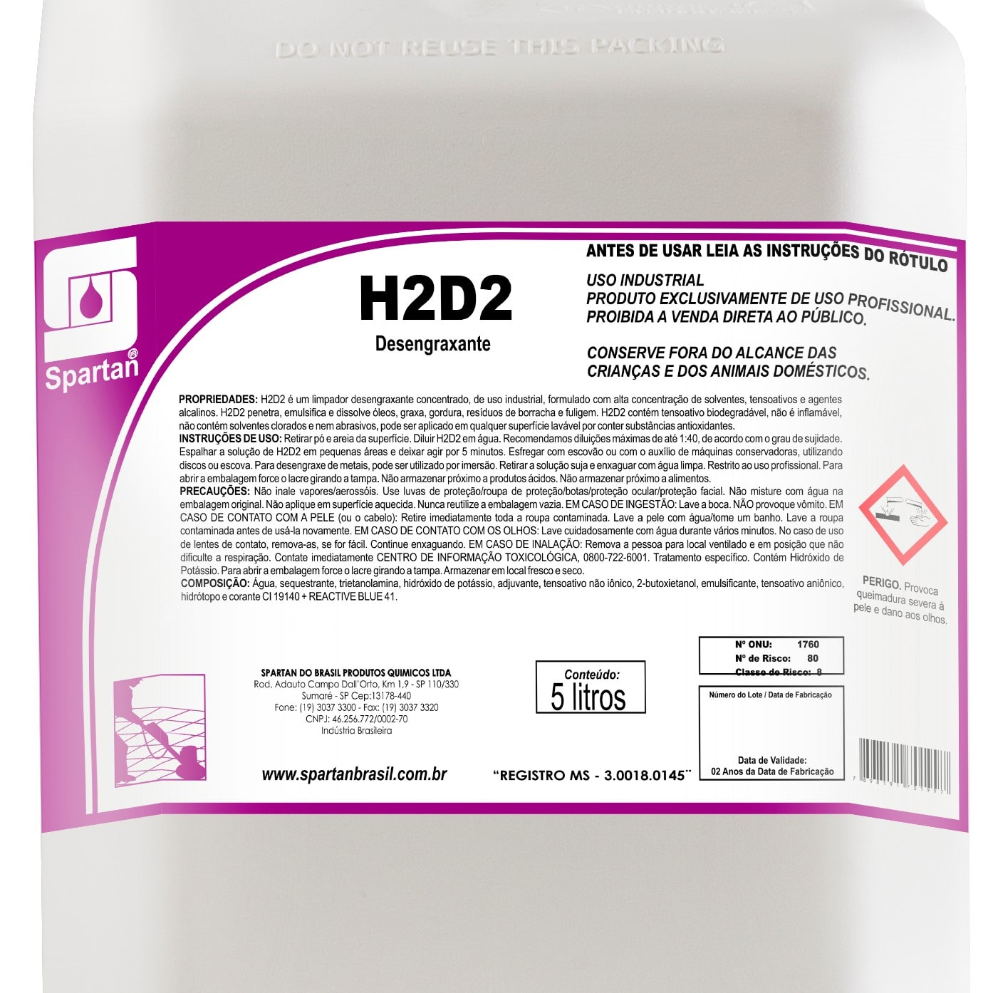 H2D2 Desengraxante 5 Litros Spartan  - Higinet
