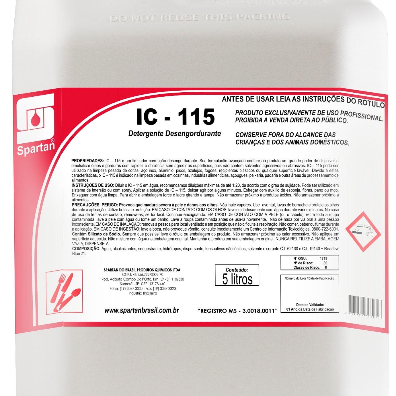 IC 115 Detergente desengordurante 5 Litros Spartan  - Higinet