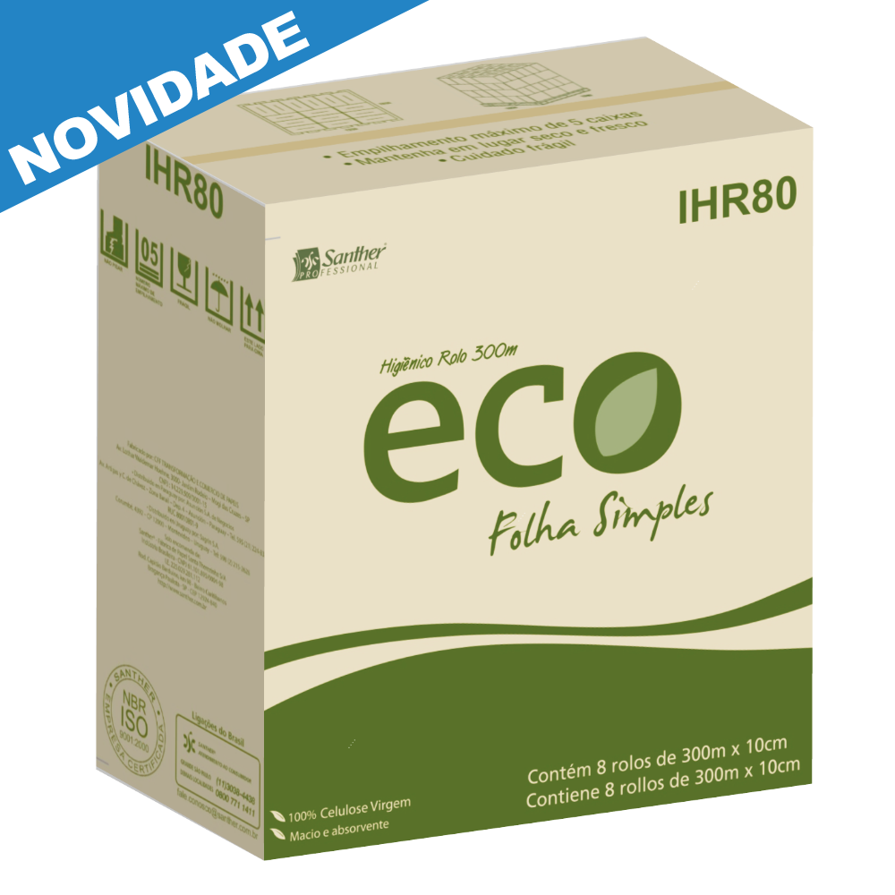 Papel Higiênico ECO Folha Simples 8 rolos de 300 metros - Santher IHR08  - Higinet