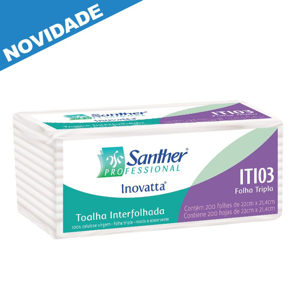 Papel Toalha Interfolha Folha TRIPLA c/2400 folhas - Santher ITI03  - Higinet