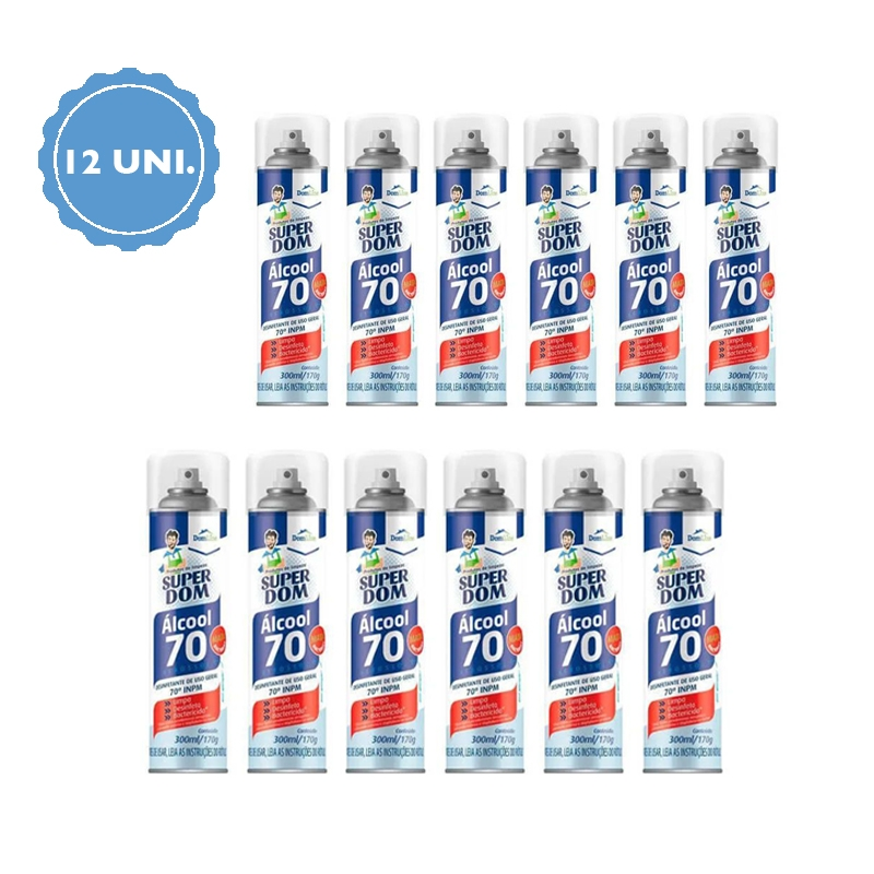 KIT 12 Unidades - Álcool 70 Teor em Spray 300ml - Domline  - Higinet